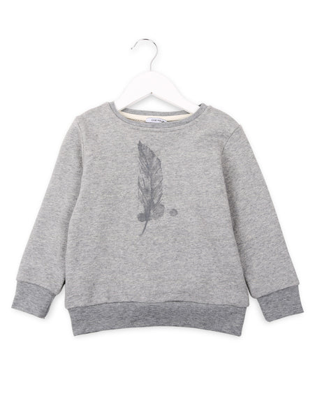 One We Like basic organic sweater with feather print in grey.
