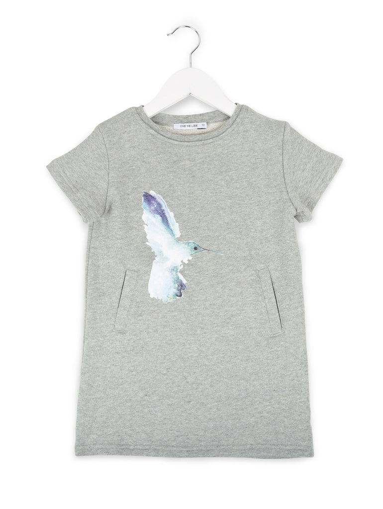 Basic dress with hummingbird print in grey melange.