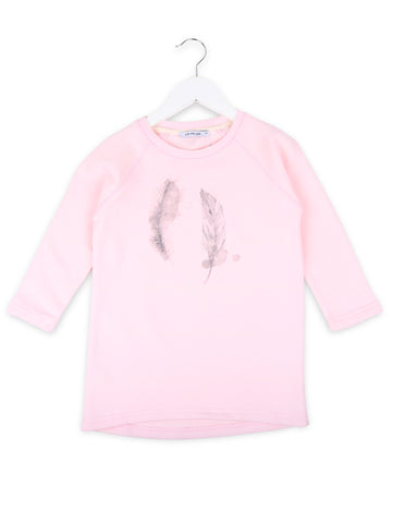 One We like organic pink dress with Two feathers print by Frida Fahrman.