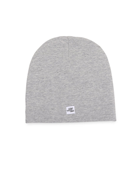 Beanie hat with donut print in grey (back).