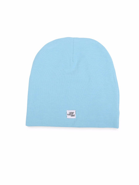 Beanie hat with cranium print in blue (back).