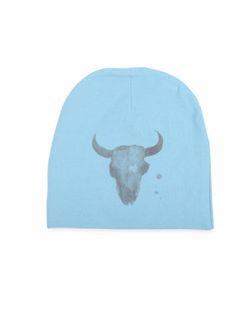 Beanie hat with cranium print in blue (front).