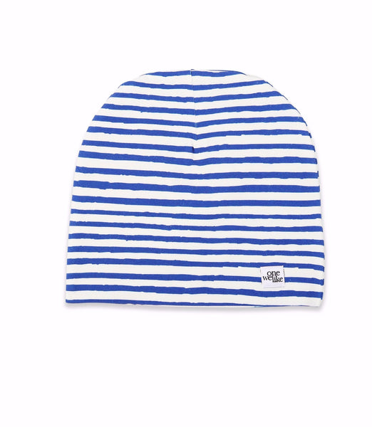 Beanie hat with One We Like stripe print in blue.