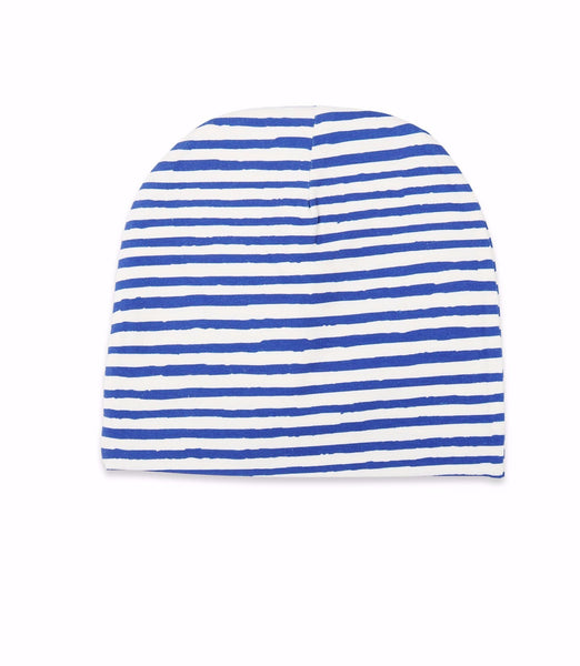 One We Like organic beanie hat with stripes in blue.