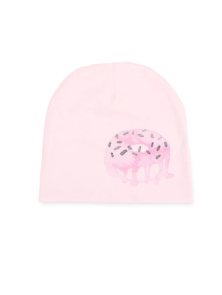 Beanie hat with donut print in pink (front).