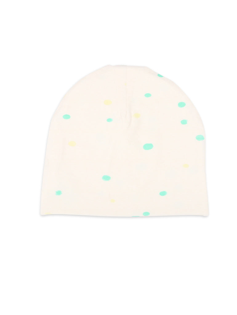 One We Like organic beanie hat with dots print in white.