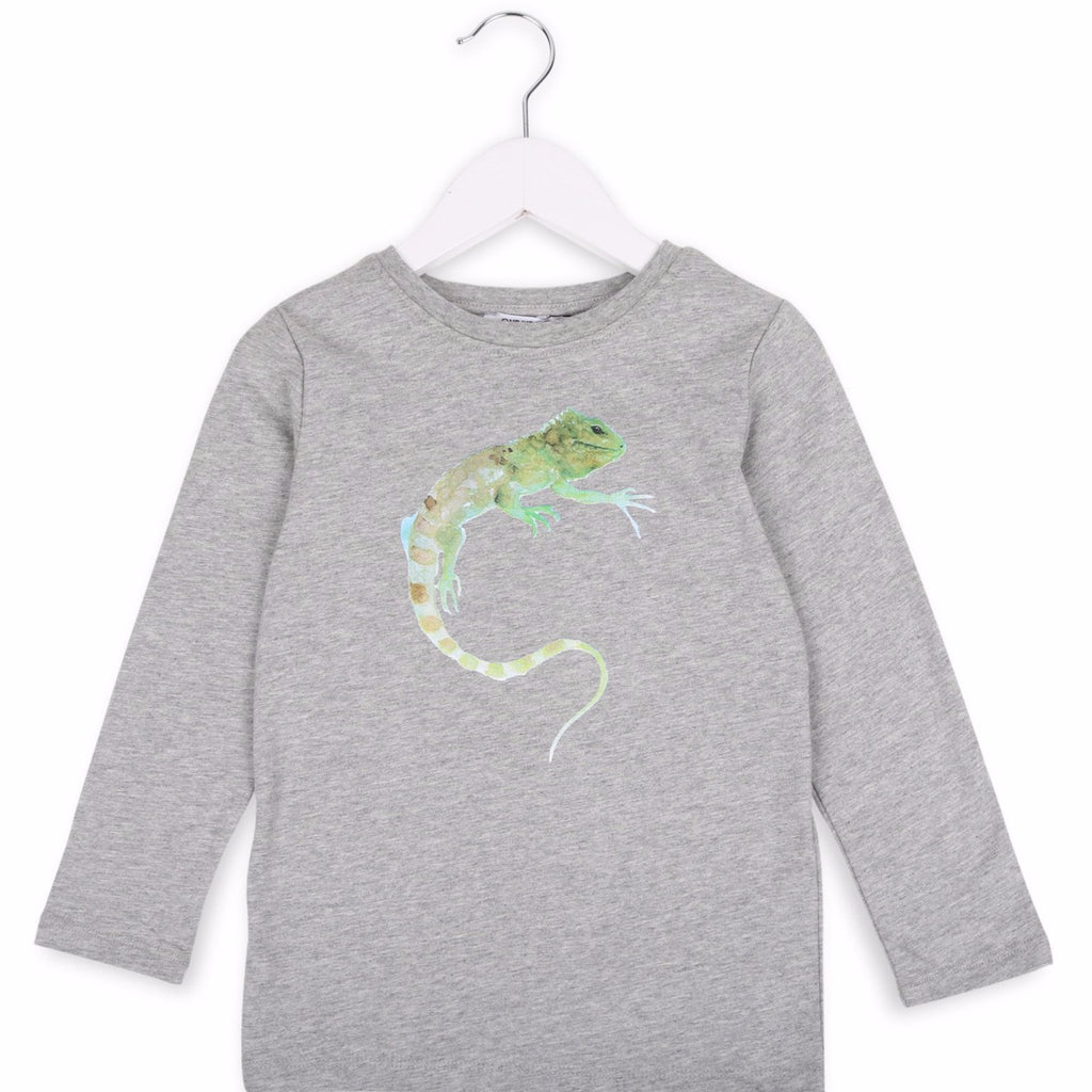 One We Like organic long sleeve t-shirt with iguana print in grey.