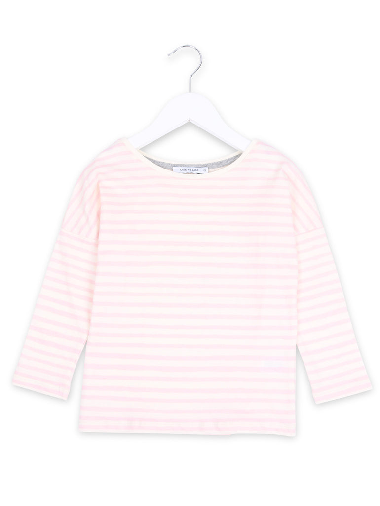 Long sleeve organic t-shirt with One We Like stripe in pink.