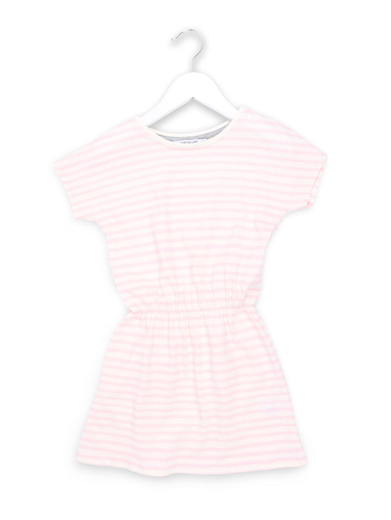 One We Like's Pop dress with stripe print in pink.