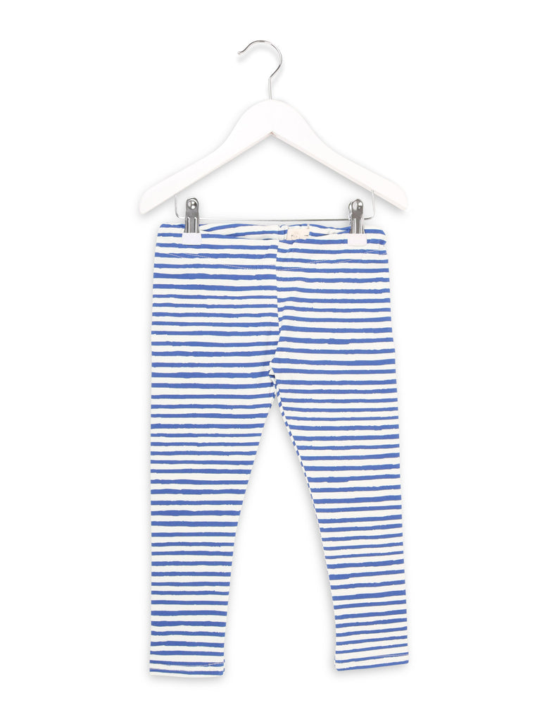 Leggings with One We Like stripe print in blue and white.