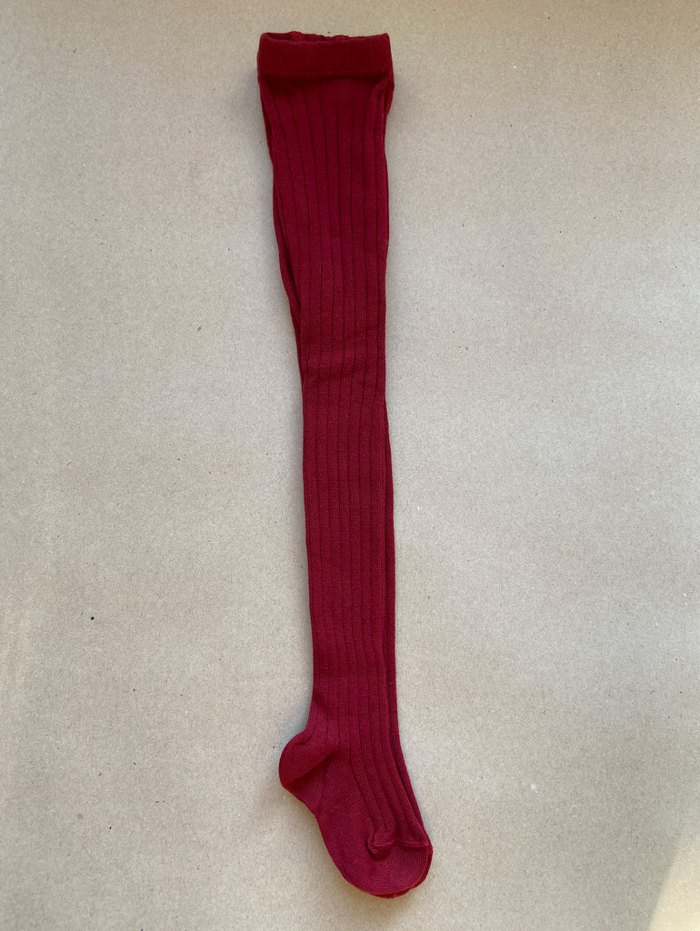 Ribbed dark red stockings from Condor