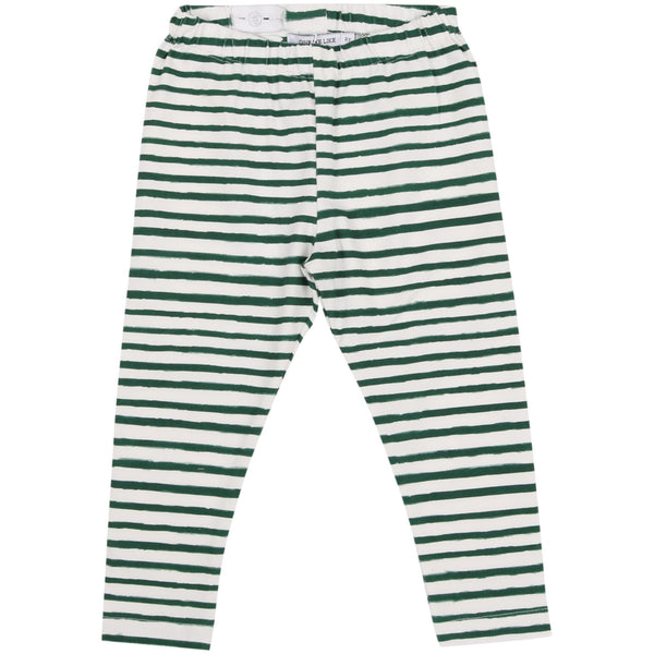 LEGGINGS STRIPE GREEN/WHITE