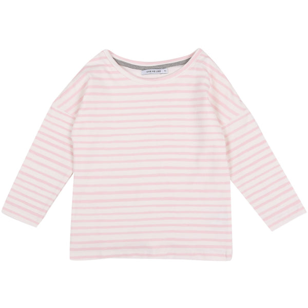 POP LS STRIPE PINK / WHITE