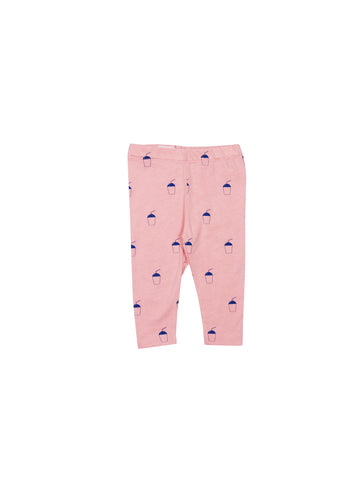 SS19 spring collection from One We Like made of 100% organic cotton. Leggings with soft adjustable elastic waist. Milkshake all over print