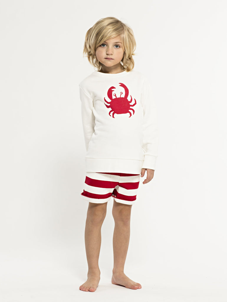 SS19 spring collection from One We Like made of 100% organic cotton. Sweatshirt with red crab on front