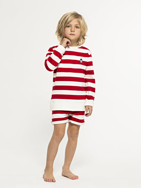 SS19 spring collection from One We Like made of 100% organic cotton. Sweatshirt with wide stripes and small milkshake embroidery at right hand of chest.