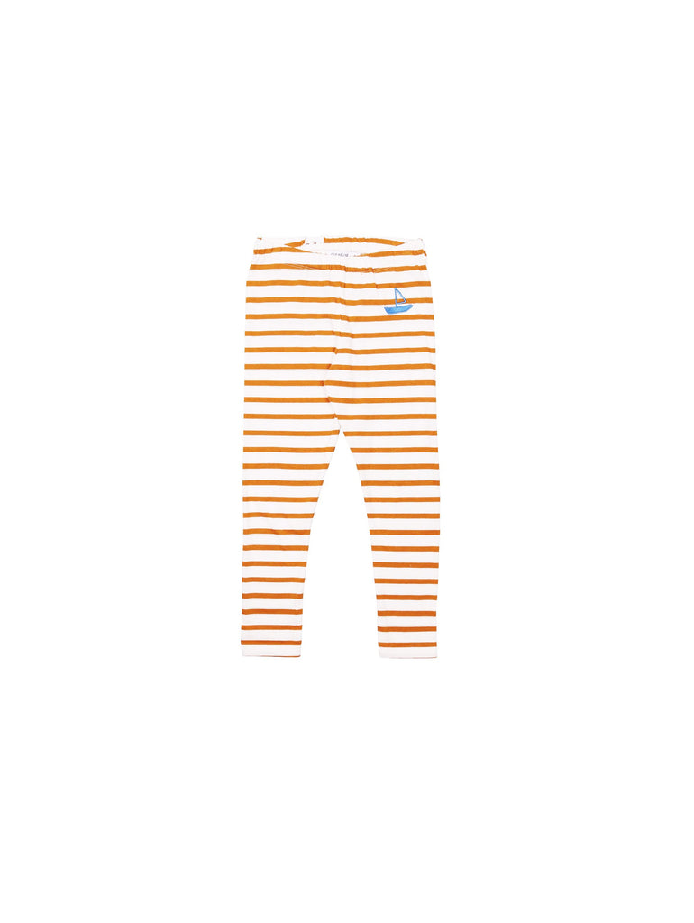 SS19 spring collection from One We Like made of 100% organic cotton. Stripe Leggings adjustable waist for better fit. Style in right size or go one up for a loose and comfy fit. Embroidery boat on front