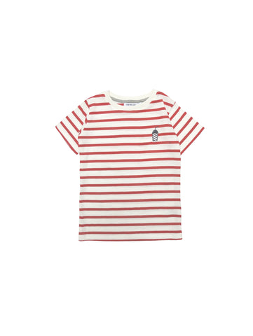 One We Like spring summer collection 2019, made of soft organic cotton. Kids T-shirt with stripes. Embrodiery milkshake on chest.