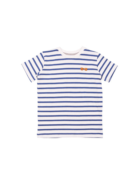 One We Like spring summer collection 2019, made of soft organic cotton. T-shirt with stripes. Small glasses embroidery on chest.