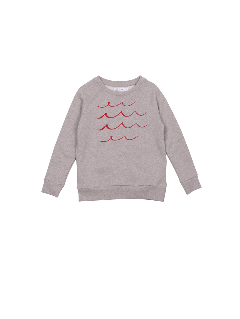 SS19 spring collection from One We Like made of 100% organic cotton. Sweatshirt with raglan arms and white waves on chest.