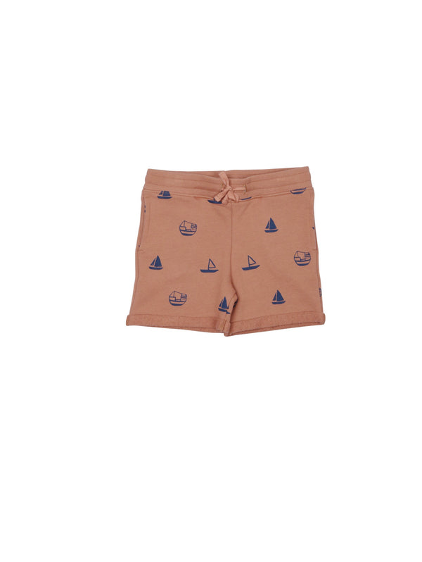 SS19 spring collection from One We Like made of 100% organic cotton. Sweatshirt Shorts with ribbed waist and adjustable string at the waist. Small fold by the legs. All over prints with boats