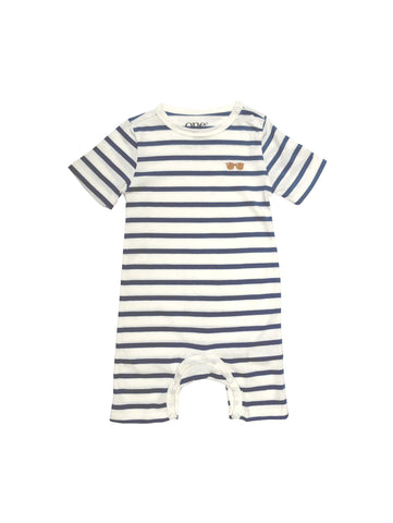 Striped summer SS19 spring collection from One We Like made of 100% organic cotton. Suit with short sleeves and legs. Glasses embroidery on chest
