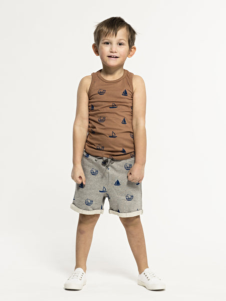 SS19 spring collection from One We Like made of 100% organic cotton. Sleeveless vest with boat print all over