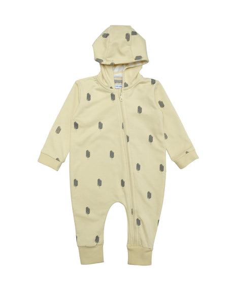 All in one baby suit with zipper in front and lined hood. Fun original icecream print on summery yellow. Wear it on it's on as a relaxed sweatshirt suti or with a body underneath as layer two.