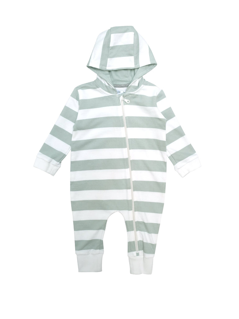 All in one baby suit with zipper down the front and a linned hood. Wear it as cool all in one as or with a body and think pants underneath as light layer two for those chilly evenings. White and mint green stripes in soft sweashirt material.