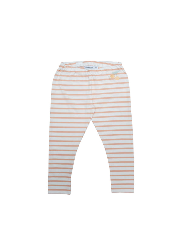 Soft and comfortable leggings in organic cotton jersey. Adjustable waist for a better fit and perfect for sizing up for longer wear. Coral and white stripes with the cutest little cherry at front. Printed logo and sizing information at back.