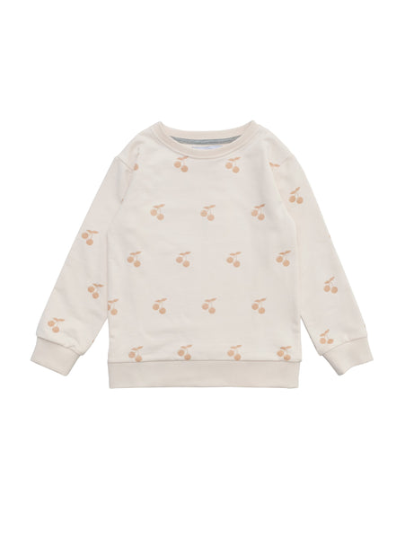 Classic round neck sweatshirt in organic cotton with rib trimmed at arms and at waist. Summer exclusive cherry print on soft organic cotton. Size 1yr as buttons at neck for easy dressing.