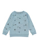 Classic styled sweatshirt with ribbed trims at arms and waist. All over Kite print exclusively made for One We Like blue fabric in organic cotton. Size 1yr has button at shoulder for easy dressing.