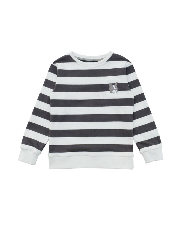 Classic sweatshirt in organic cotton fabric with ribbed trim. Striped in charcoal grey and white with a cute bulldog at chest. Size 1yr has snap button at shoulder. Made in Portugal