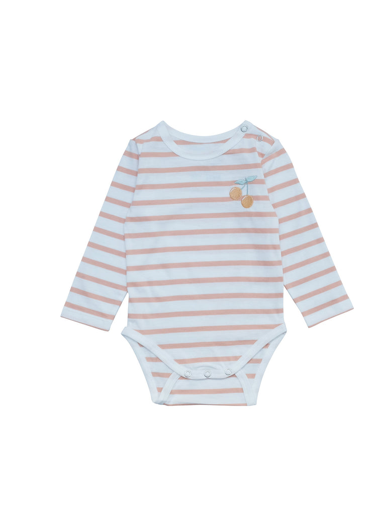 Striped long sleeve body made from organic cotton jersey. Soft and perfectly stretchy with a small delicate embroidery Cherry in coral and green at chest. Snap button at crotch and shoulder for easy dressing. Printed logo and sizing information at back instead of necklable to avoid irritating sensitive baby skin.