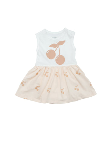 Cute summer baby body dress with a screenprinted Cherry at front and a airy skirt with all over Cherry print. Snap buttons at crotch and shoulder for easy dressing. Printed logo and sizing information at back to avoid necklabel irritating baby delicated skin.