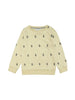 Classic styled sweatshirt with ribbed trims at arm and waist. All over exclusively made icecream print in grey on pale yellow fabric. Size 1yr has buttons at shoulder for easy dressing.