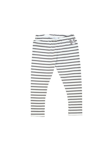 Charcoal grey and white striped leggings in comfortable organic jersey with small bulldog embroidery at front. Size up for a more baggy fit and adjust waist to your perfect fit. Made in Portugal.