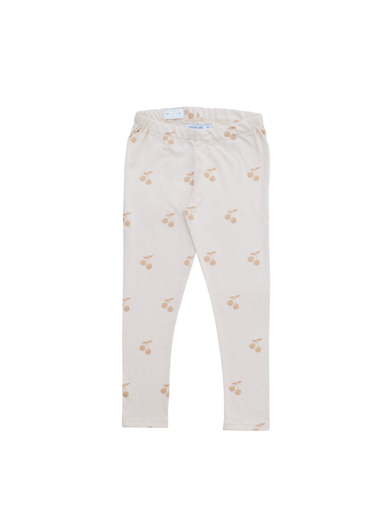 Soft and comfortable leggings in organic cotton jersey. Adjustable waist for perfect fit and perfect for sizing up. Stripe coral pink and white with the cutest little cherry at front. Printed logo and sizing information at back.
