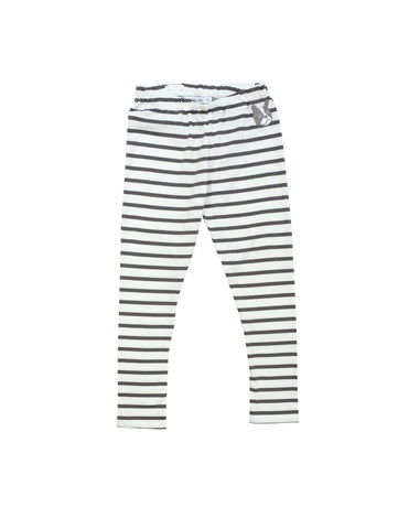 Charcoal grey and white striped leggings in comfortable organic jersey with small bulldog embroidery at front. Adjustable waist for a better fit so perfect to size up for baggy fit. Made in Portugal.