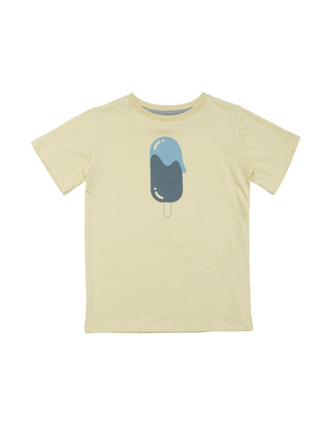 Classic unisex t-shirt model in summery yellow. Handprinted icecream at front. Size 1yr has snapbuttons at shoulder for easy dressing.  100% organic cotton made Portugal