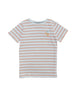 Classic round neck t-shirt with straight fit. Soft comfortable striped organic jersey in coral and white with a small Cherry embroidery at chest. Made of 100% organic cotton in Portugal.