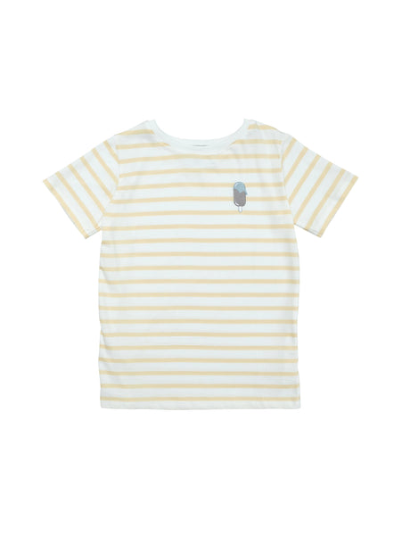 Classic round neck t-shirt with straight fit. Soft comfortable striped organic jersey cotton in summer yellow and white with a small Icecream embroidery at chest.