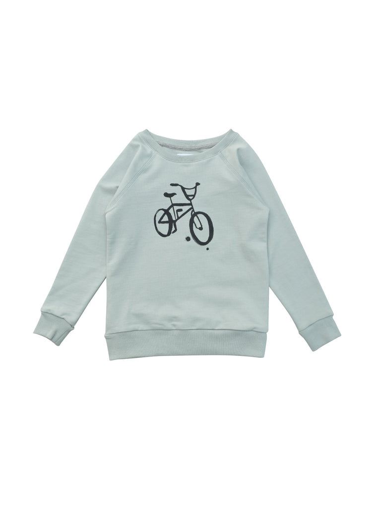 Sweatshirt in raglan model in light green and with a handprinted retro bike print at front. Made of 100% organic cotton in Portugal