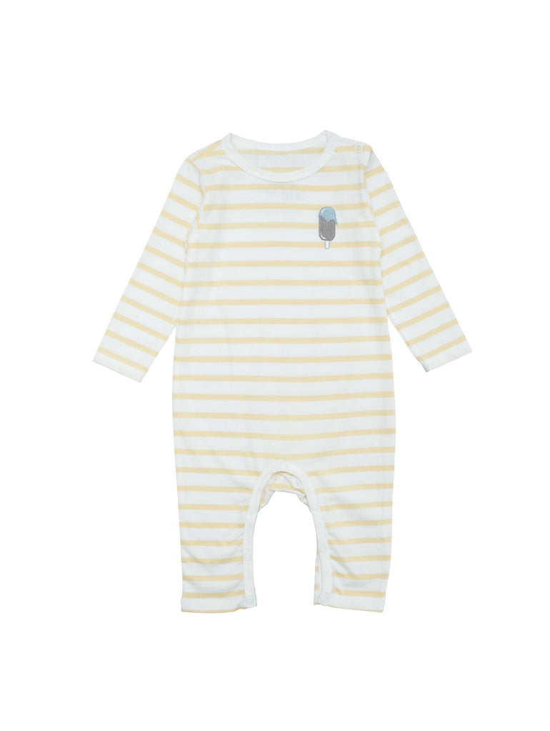 Striped white and yellow suit in soft organic cotton jersey. Snapbuttons at crotch and shoulder for easy dressing it makes a perfect item for your baby's wardrobe. A small icecream embroidery at chest makes a fun and cute detail.