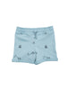 Blue shorts with all over kite print in organic cotton. Comfortable rib at waist with drawstring for an adjustable waist. Unisex model with small fold-up at leg.
