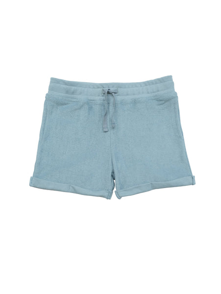 Terry shorts with a ribbed waist with drawstring for perfect fit. Small fold-ups at leg. Unisex model made in 100% organic cotton terry.