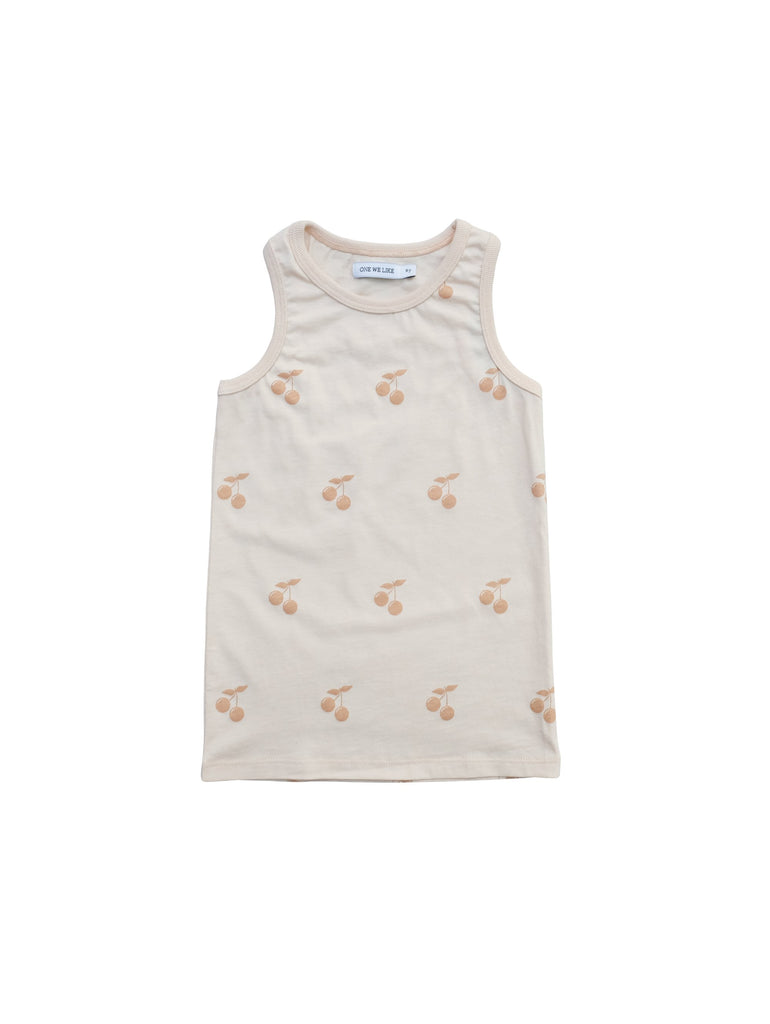 Sleevless top with Cherry tone in tone print. Rib around neck and at arm opening. 100% organic cotton in Portugal