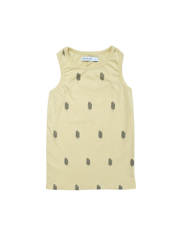 Sleevless top with our summery all over icecream print. Rib around neck and at arm opening. Unisex