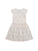 Summer dress with frills around shoulders and ruched waist. Kneelength and runs sliglty big in size so if you're inbetween size down. Light pink with an allover cherry print. Made of 100% organic cotton in Portugal
