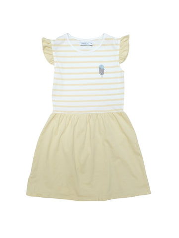 Sleeveless summer dress with a ruched waist and kneelenght. White and yellow striped top with summer yellow skirt and a small icecream embroidery at chest. Made in Portugal in 100% organic coton.